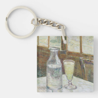 Café table with absinth Double-Sided square acrylic keychain