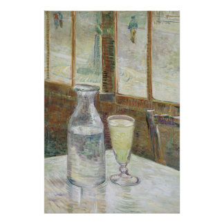 Café table with absinth Poster