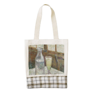 Café table with absinth zazzle HEART tote bag