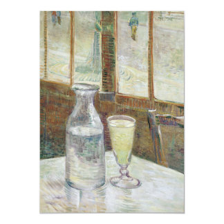 "Cafe Table with Absinthe by Vincent Van Gogh 5"" X 7"" Invitation Card"