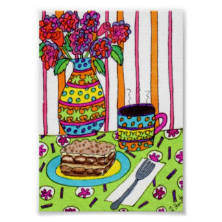 Cafe Table with Coffee and Tiramisu Mini Folk Art Poster