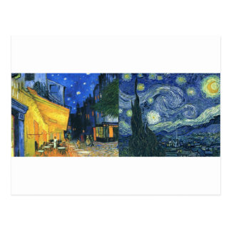 Cafe Terrace and Starry Night Postcard