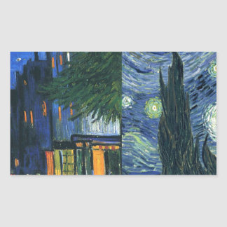 Cafe Terrace and Starry Night Rectangular Sticker