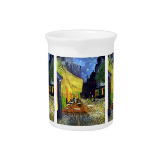 Cafe Terrace at Night by Van Gogh Drink Pitcher