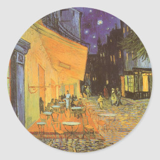 Cafe Terrace at Night by Vincent van Gogh Classic Round Sticker