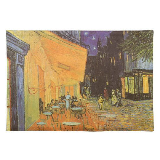 Cafe Terrace at Night by Vincent van Gogh Cloth Placemat