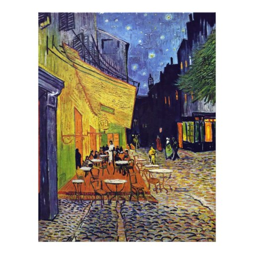 """Cafe Terrace At Night,  By Vincent Van Gogh 8.5"""" X 11"""" Flyer"""