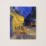 "Cafe Terrace at Night by Vincent van Gogh Jigsaw Puzzle<br><div class=""desc"">A fine art jigsaw puzzle with the Post-Impressionist oil painting by Vincent van Gogh (1853-1890),  Cafe Terrace at Night (1888). Created in Arles,  France in front of a popular coffee house on the Rue Du Palais.</div>"