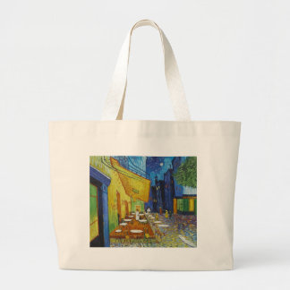 Cafe Terrace At Night by Vincent Van Gogh Jumbo Tote Bag