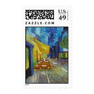 Cafe Terrace At Night by Vincent Van Gogh Postage Stamps