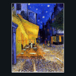 "Cafe Terrace at Night by Vincent van Gogh Postcard<br><div class=""desc"">A postcard with the Post-Impressionist oil painting by Vincent van Gogh (1853-1890),  Cafe Terrace at Night (1888). Created in Arles,  France in front of a popular coffee house on the Rue Du Palais.</div>"