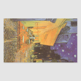 Cafe Terrace at Night by Vincent van Gogh Rectangular Sticker