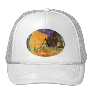 Cafe terrace at night monogram trucker hat