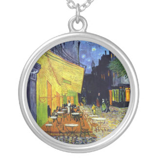 Cafe Terrace at Night Round Pendant Necklace