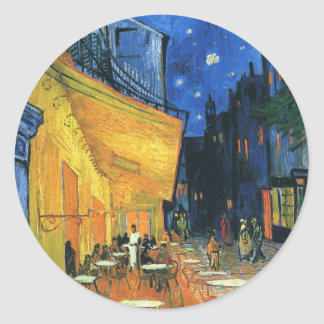 Cafe Terrace at Night Round Sticker