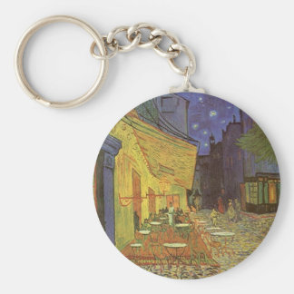 Cafe' Terrace At Night Van Gogh coffeehouse Gifts Basic Round Button Keychain