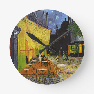 Cafe Terrace at Night Van Gogh Round Clock