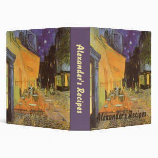 Cafe Terrace Night, van Gogh Vintage Impressionism Binder