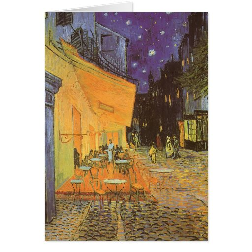 Cafe Terrace Night, van Gogh Vintage Impressionism Greeting Card