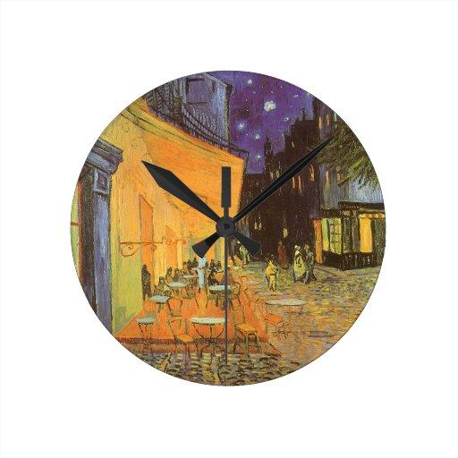 Cafe Terrace Night, van Gogh Vintage Impressionism Round Wall Clock