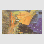 Cafe Terrace Night, van Gogh Vintage Impressionism Rectangular Sticker
