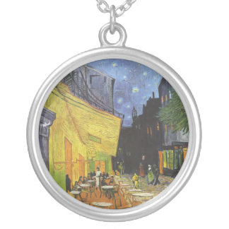 Cafe Terrace on the place Du forum, arles at night Round Pendant Necklace
