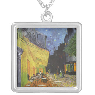 Cafe Terrace on the place Du forum, arles at night Silver Plated Necklace
