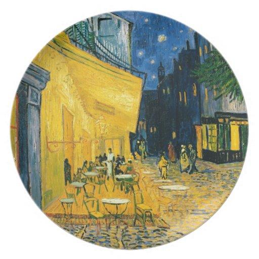 Cafe Terrace, Place du Forum, Arles, 1888 Party Plates