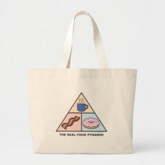 Café, tocino y anillos de espuma - la pirámide de  bolsa tela grande