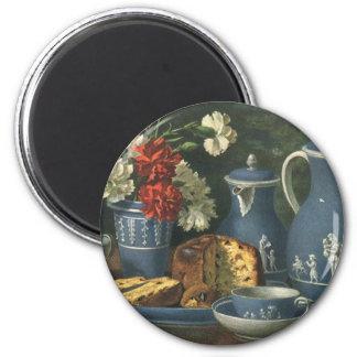 Café, torta, té y flores de la tarde del vintage imán redondo 5 cm