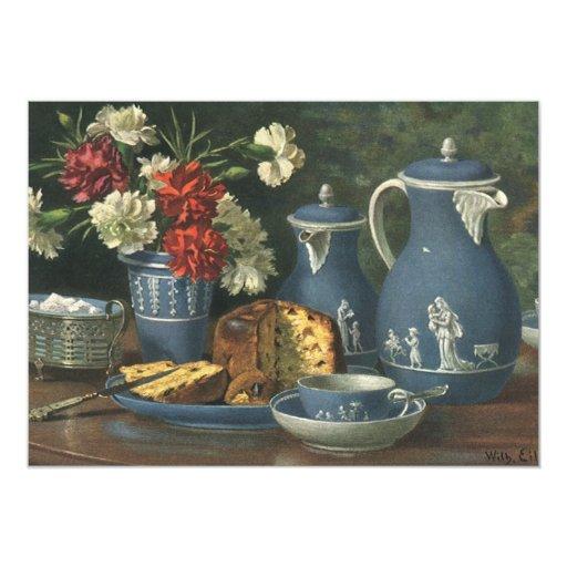 """Café, torta, té y flores de la tarde del vintage invitación 5"""" x 7"""""""