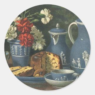 Café, torta, té y flores de la tarde del vintage pegatina redonda
