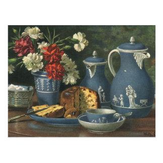 Café, torta, té y flores de la tarde del vintage postal