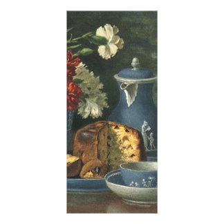 Café, torta, té y flores de la tarde del vintage tarjeta publicitaria