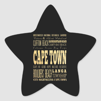 Cafe Town City of South Africa Typography Art Star Sticker