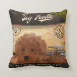 Cafe Toy Poodle Throw Pillow