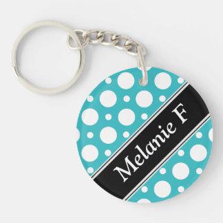 Cafe Turquoise Assorted Polka Dot Acrylic Keychain