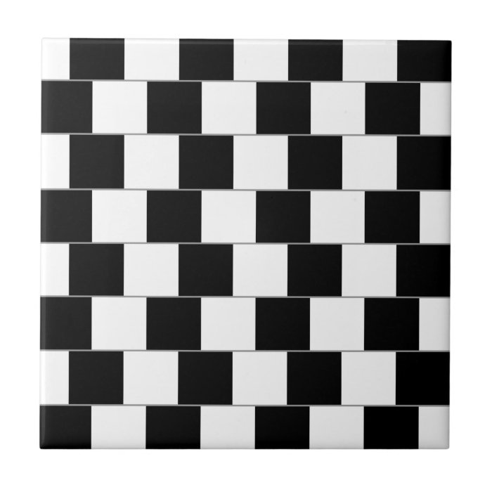 Cafe Wall Optical Illusion Horizontal Lines Ceramic Tile