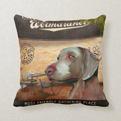 Cafe Weimaraner Throw Pillow