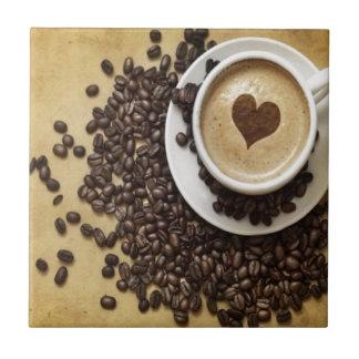 Café y amor azulejo cuadrado pequeño
