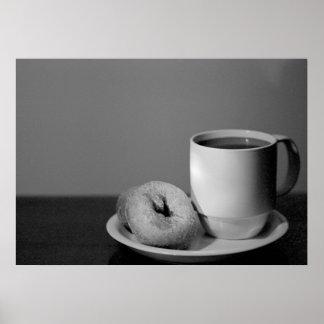 Café y anillos de espuma póster