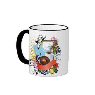 café y anillos de espuma taza de dos colores