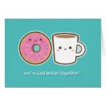 Café y buñuelo de Kawaii Felicitación