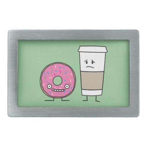 Café y buñuelo hebillas de cinturón rectangulares