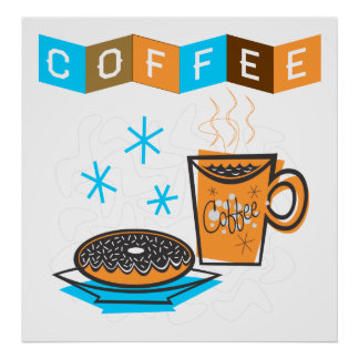Café y buñuelo retros poster
