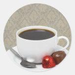 café y caramelo pegatina redonda