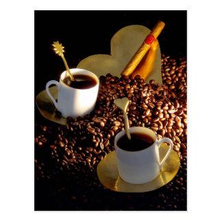 Café y cigarro tarjeta postal