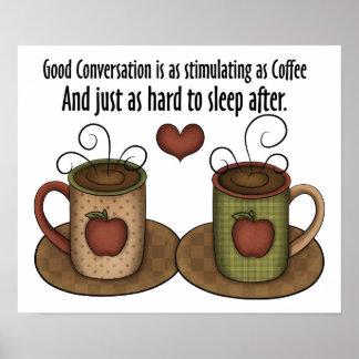 Café y conversación póster