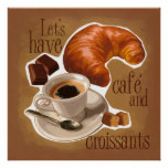 Café y croissants impresiones