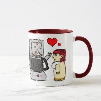Café y desnatadora en amor taza